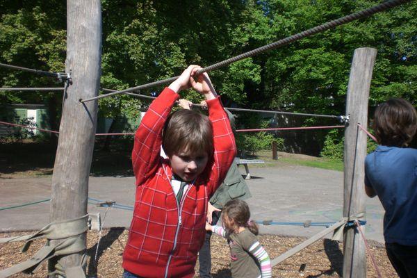 Kinder spielen im Niedrigseilklettergarten