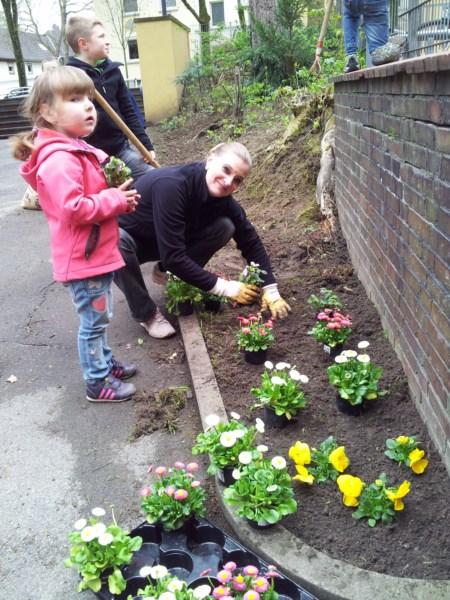 Im Schulvorgarten we4rden Blumen gepfanzt