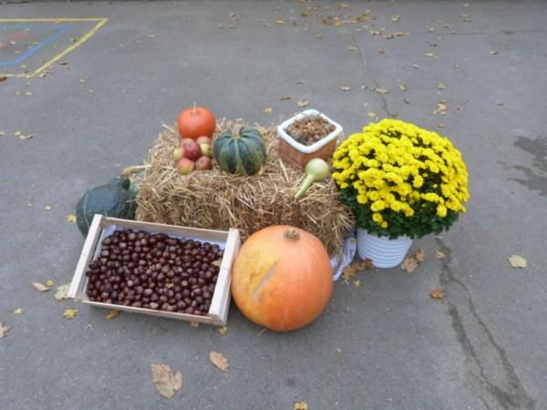 Herbstdekoration auf dem Schulhof