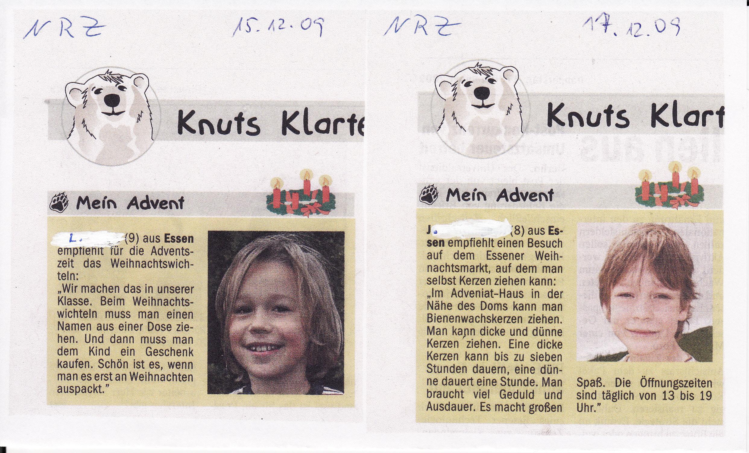 Zeitungsartikel NRZ zum Thema: Mein Advent