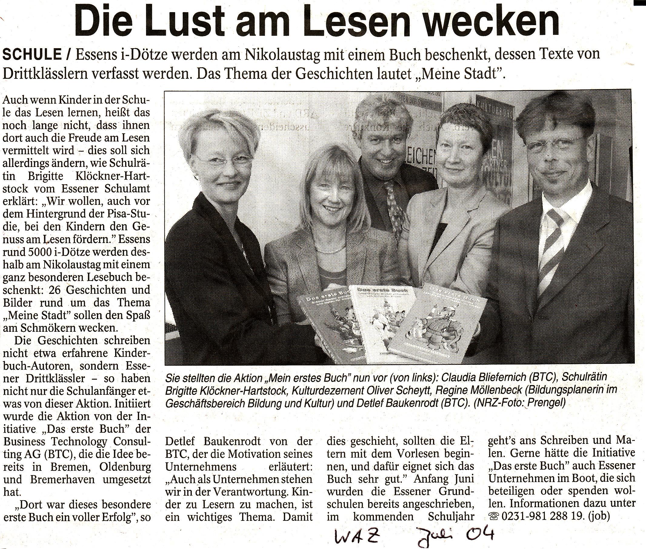 """Zeitungsartikel """"Lust am Lesen wecken"""""""