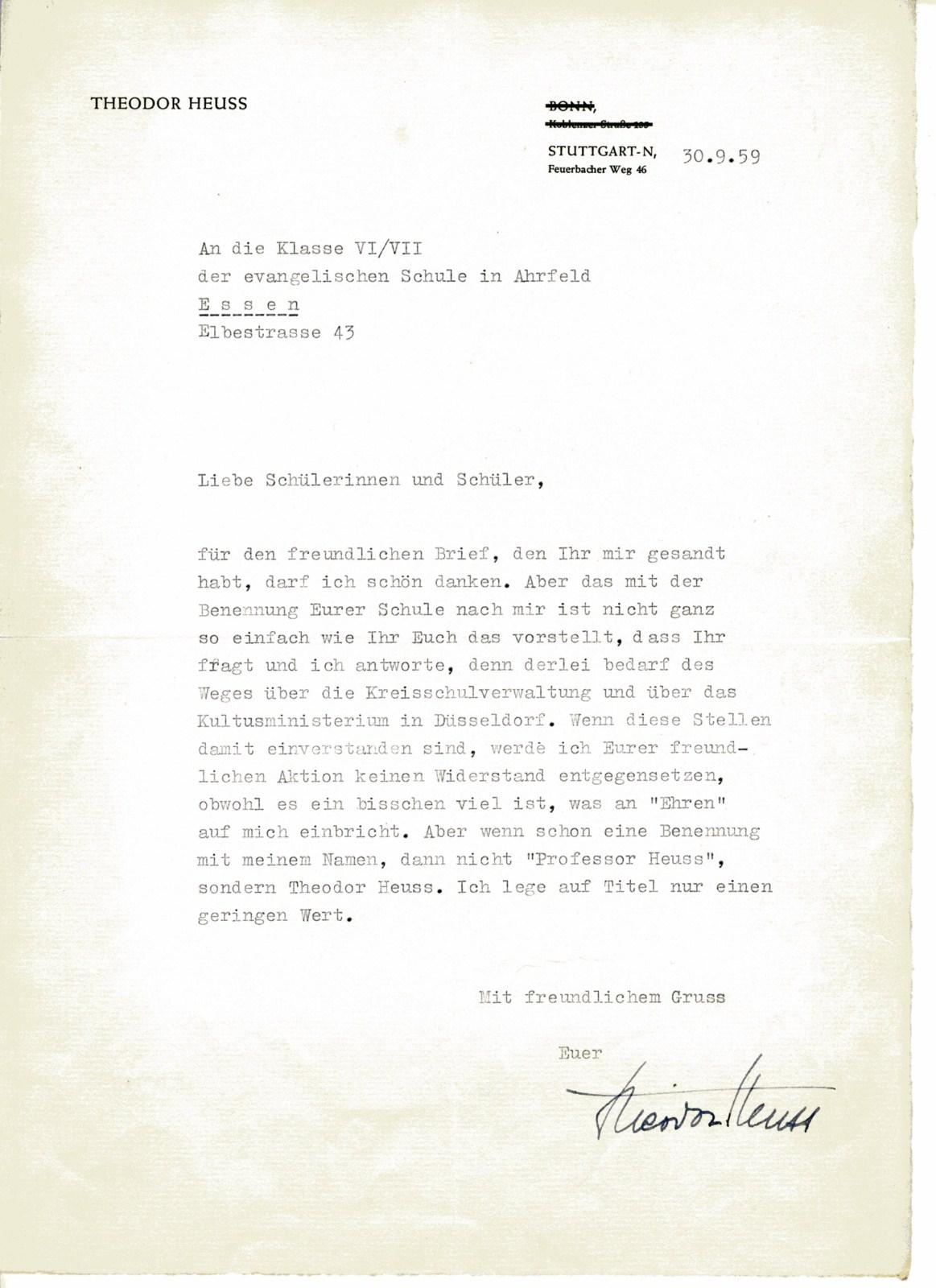 Brief von Theodor-Heuss